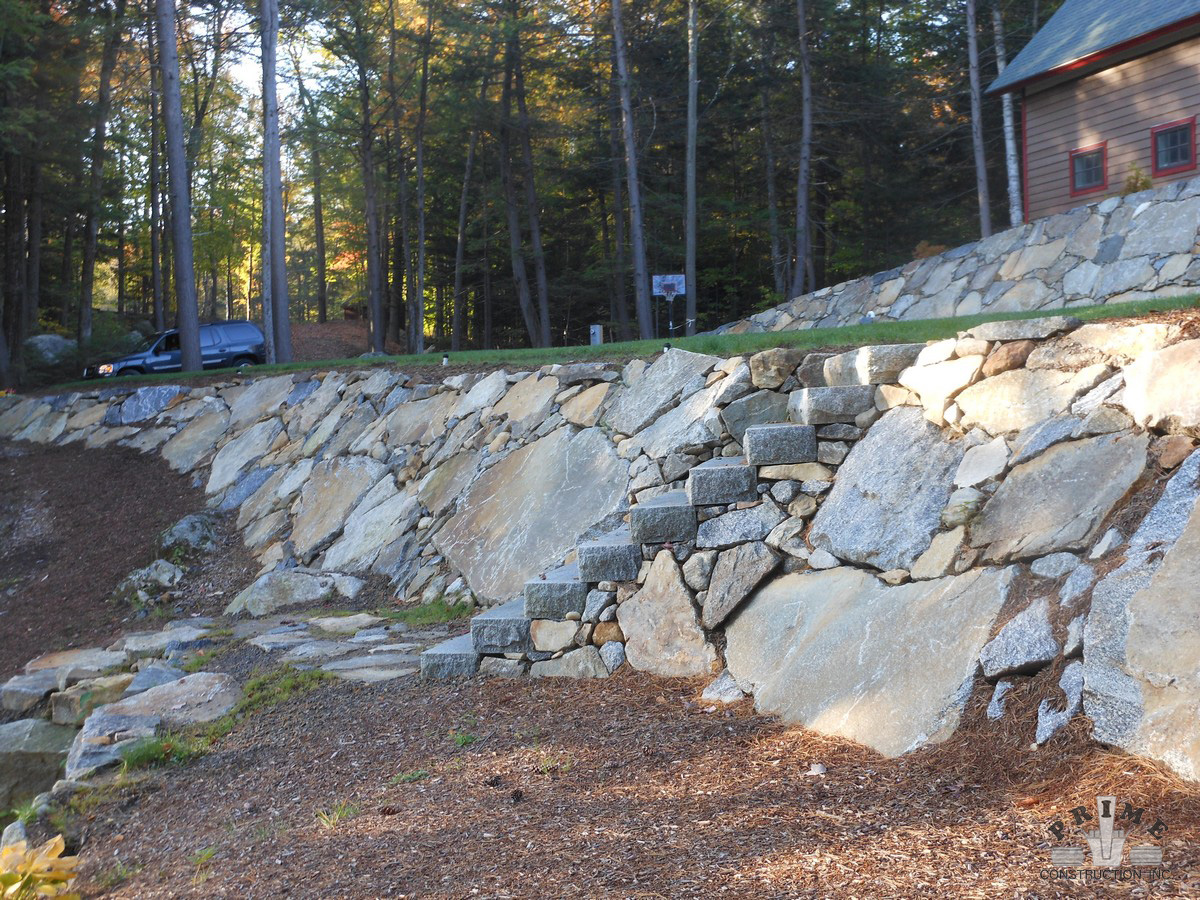 stone retaining wall project photos prime construction nh. Black Bedroom Furniture Sets. Home Design Ideas
